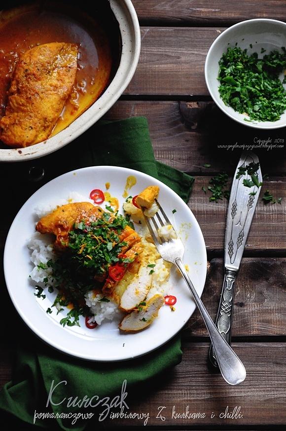 Filety z kurczaka w aromatycznym sosie pomarańczowo - imbirowym