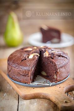 Mocno czekoladowe ciasto z gruszkami