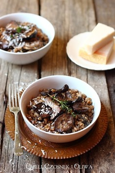 Farrotto - risotto z pszenicy farro z grzybami
