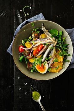 Sałatka z anchois i pomarańczy