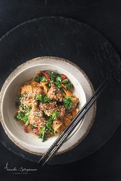 Teriyaki stir-fry z indykiem i warzywami