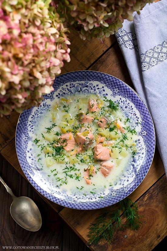 Zupa łososiowa z porem