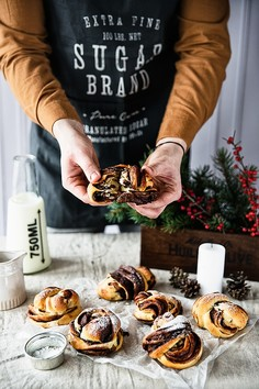 Drożdżowe precelki z kremem czekoladowym na Boże Narodzenie