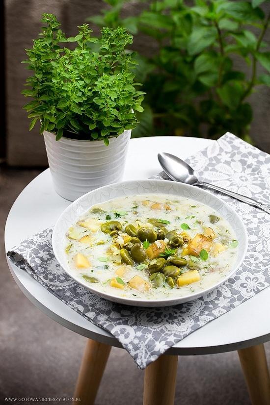 Zupa porowa z bobem i młodymi ziemniakami