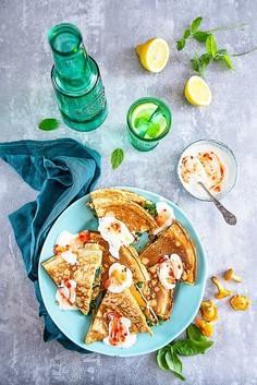 Quesadillas naleśnikowe z kurkami i szpiankiem