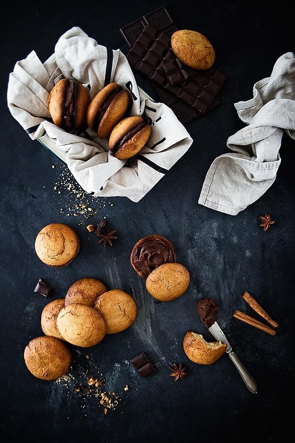 Ciasteczka - markizy z kremem czekoladowym