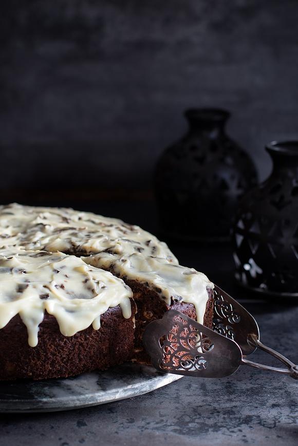 Ciasto z dynią, powidłami śliwkowymi i płatkami owsianymi