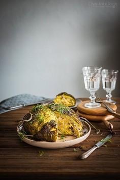 Pieczona włoska kapusta faszerowana ziemniakami