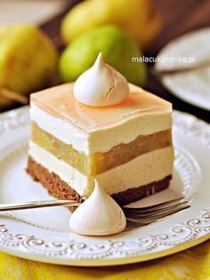 Ciasto z gruszkami i kremem waniliowym - Gruszkowe Słoneczko