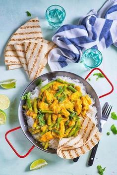Żółte curry z zieloną fasolką szparagową